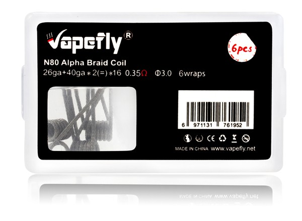 Vapefly - 6x Prebuild Ni80 Alpha Braid Coil