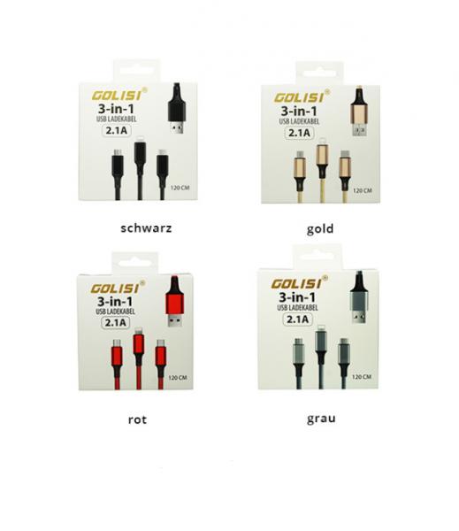 Golisi - 3 in 1 USB Ladekabel